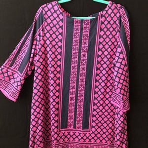 Tunic Bright Pink Navy Blue Top